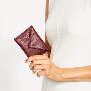 NWT Rachel Miriam burgundy leather card holder